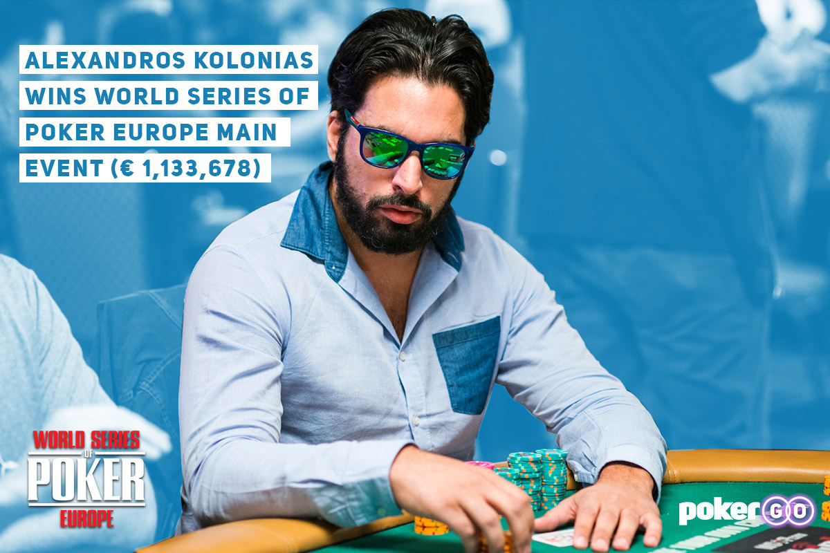 Alexandros Kolonias won the biggest tournament of his life taking down World Series of Poker Europe.