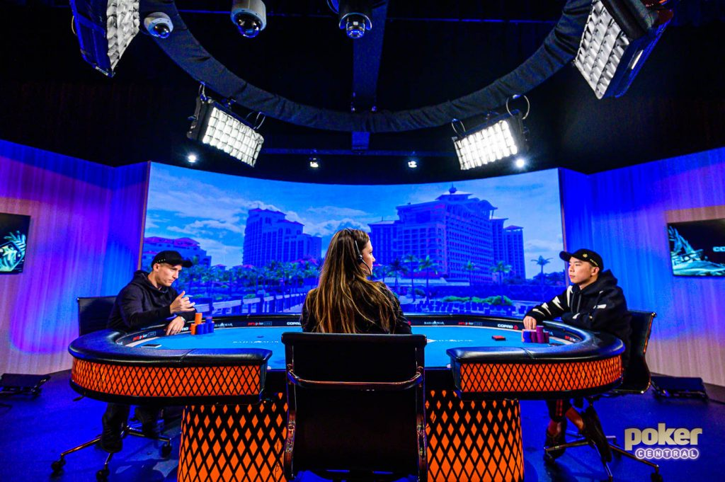Wai Leong Chan and Daniel Dvoress heads up for the Super High Roller Bowl Bahamas Championship ring.