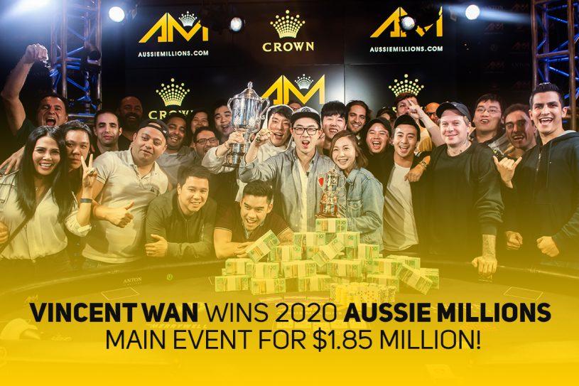 Vincent Wan wins Aussie Millions Main Event