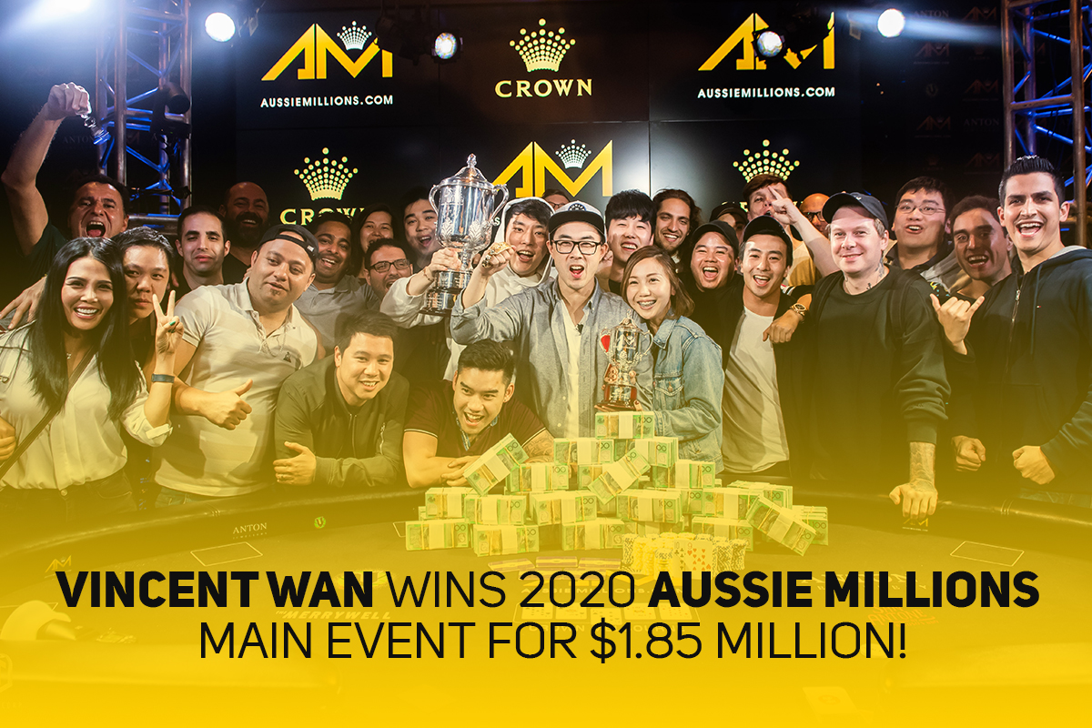 Vincent Wan wins Aussie Millions Main Event