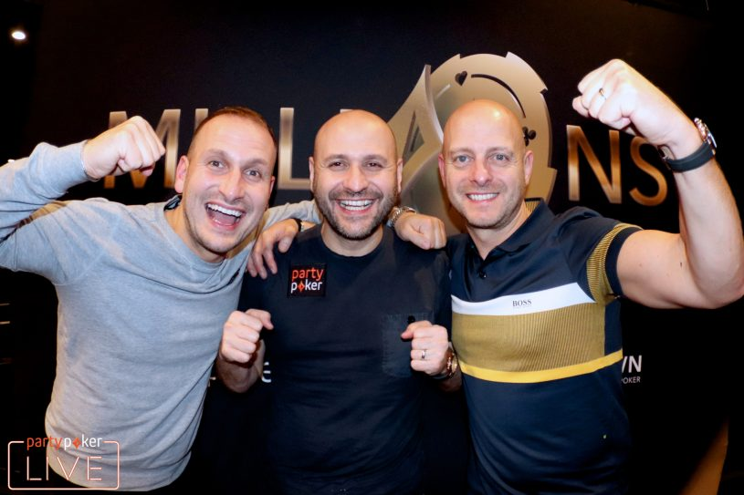 Roberto Romanello (center) and his brothers Anthony and Nicholas made it to Day 3 (photo: Mickey May/partypoker)