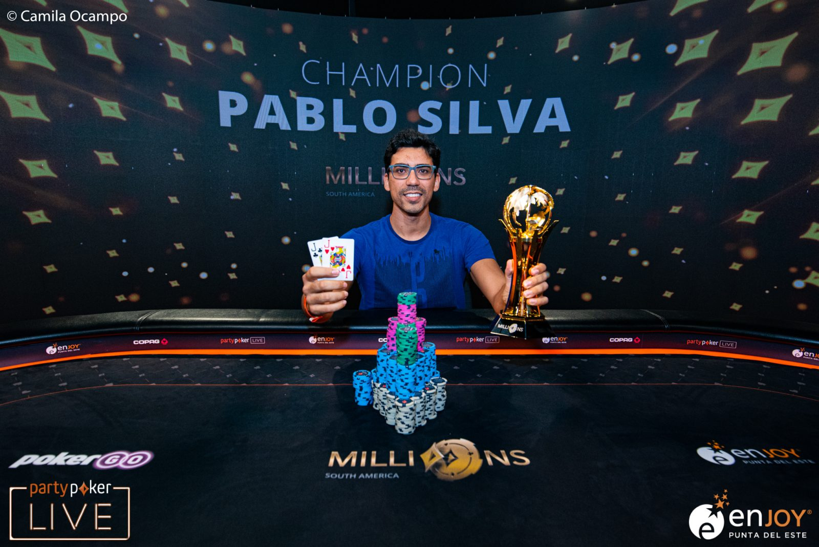 partypoker MILLIONS South America Main Event winner Pablo Silva