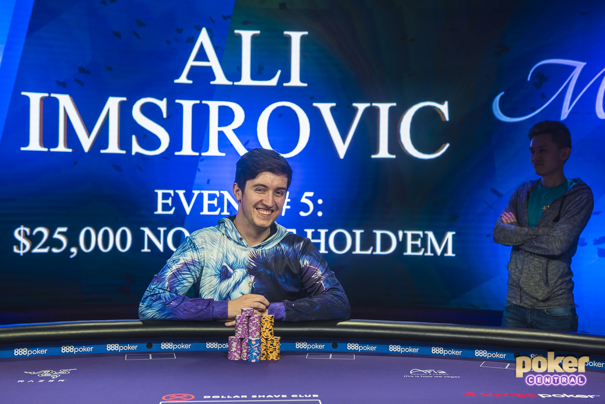 Ali Imsirovic takes home the title in Event 5 of the 2018 Poker Masters, the $25,000 No-Limit Hold'em event! The $462,000 first place prize is a career-best for Imsirovic. After his interview with Maria Ho, Imsirovic and Yu shared a laugh as Yu proposed this winners photo with himself lurking behind Imsirovic.