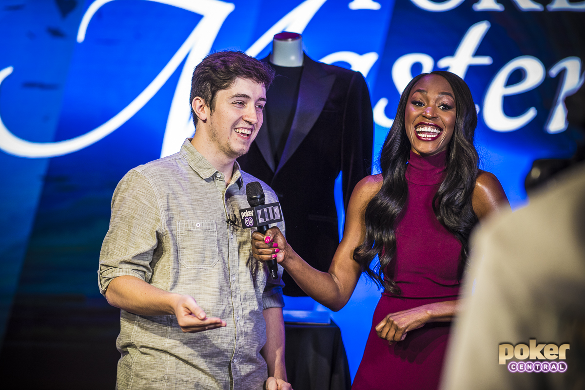 """Drea Renee with 2018 Poker Masters champion Ali Imsirovic who's up for an awards in the category """"Breakout Player of the Year."""""""