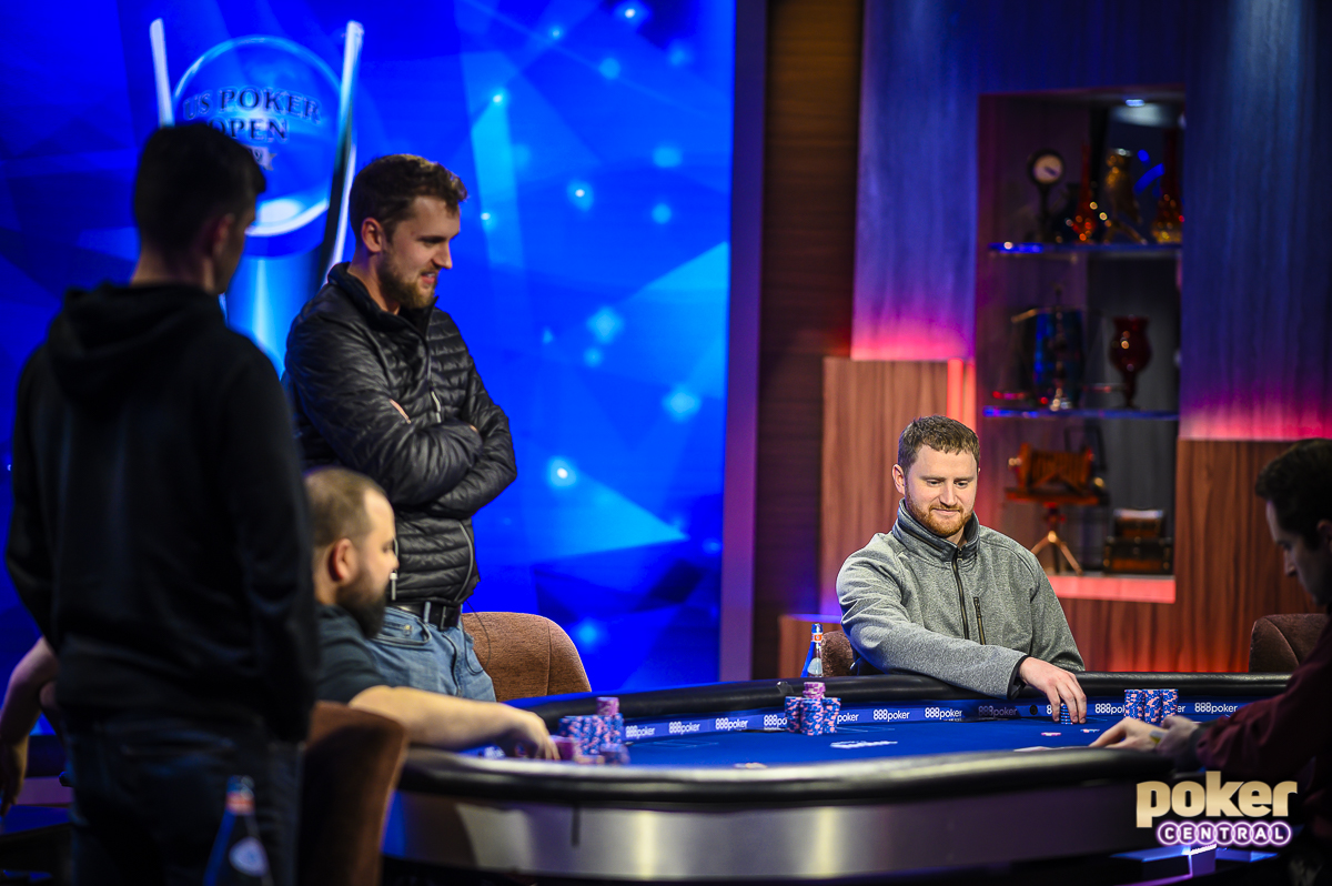 David Peters earlier at the final table battling for the trophy, $1.3 million, and the $100,000 top prize at the 2019 U.S. Poker Open.