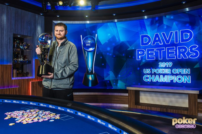 David Peters with the 2019 U.S. Poker Open trophy.