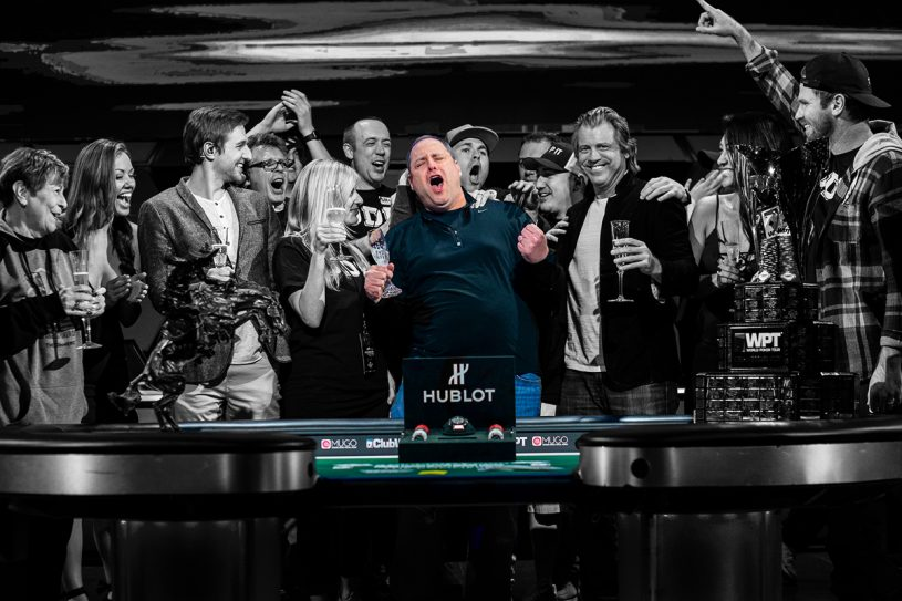 David 'ODB' Baker celebrating his epic L.A. Poker Classic victory for $1,015,000. (Photo: PokerPhotoArchive.com)