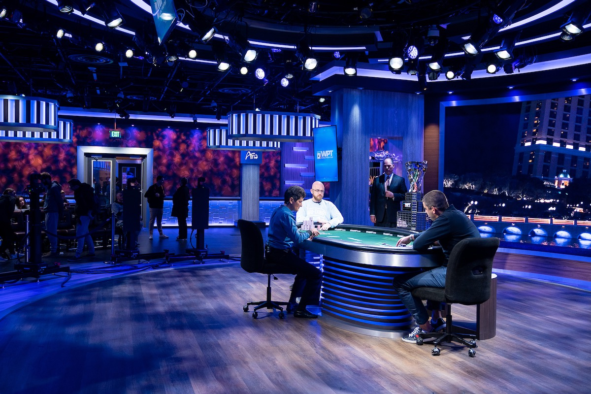 Dylan Linde battles with Milos Skrbic for the WPT Five Diamond title in the PokerGO Studio. (Photo courtesy of the WPT)