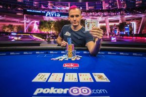 Justin Bonomo after winning Event #1 of the 2018 US Poker Open.