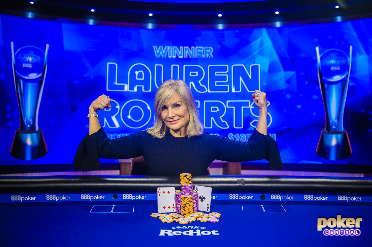 Lauren Roberts flexes after winning U.S. Poker Open Event #3.