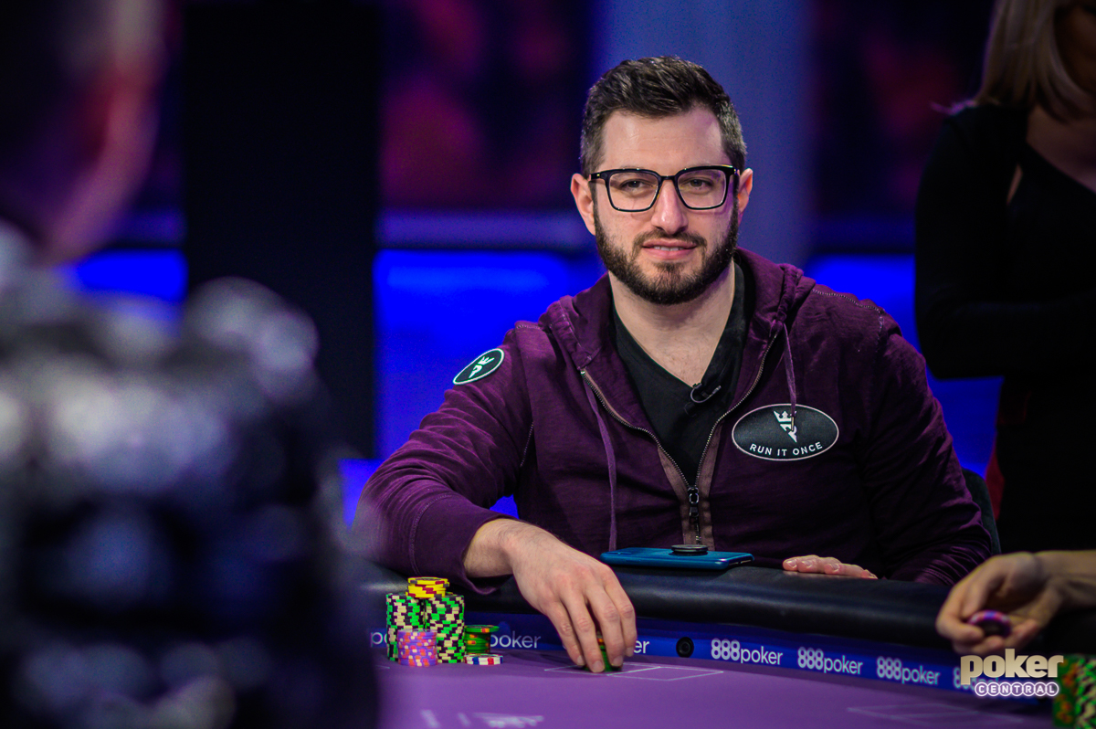 "Phil Galfond in action during ""Run it Once"" week on Poker After Dark inside the PokerGO Studio."