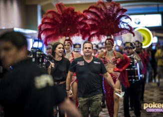 Randall Emmett & Lala Kent walking into the Rio during the 2018 World Series of Poker Main Event.