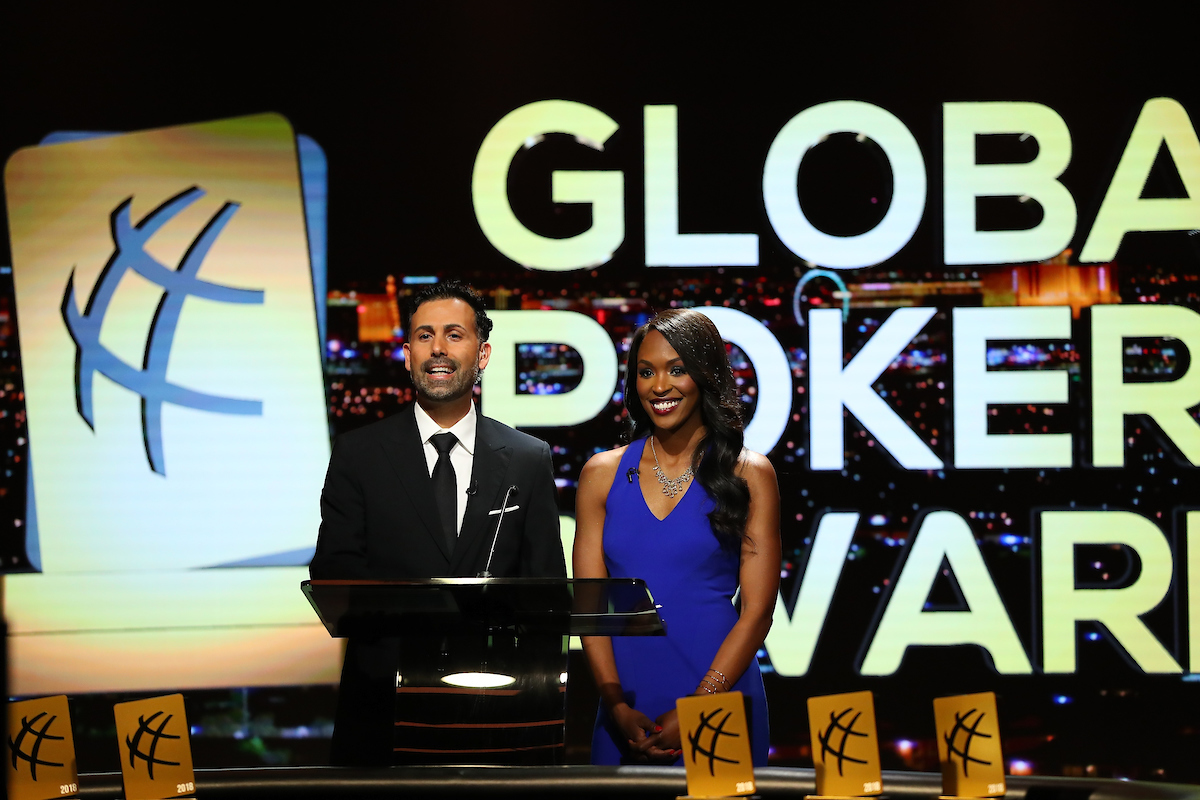 Ali Nejad and Drea Renee hosting the Global Poker Awards at the PokerGO Studio.