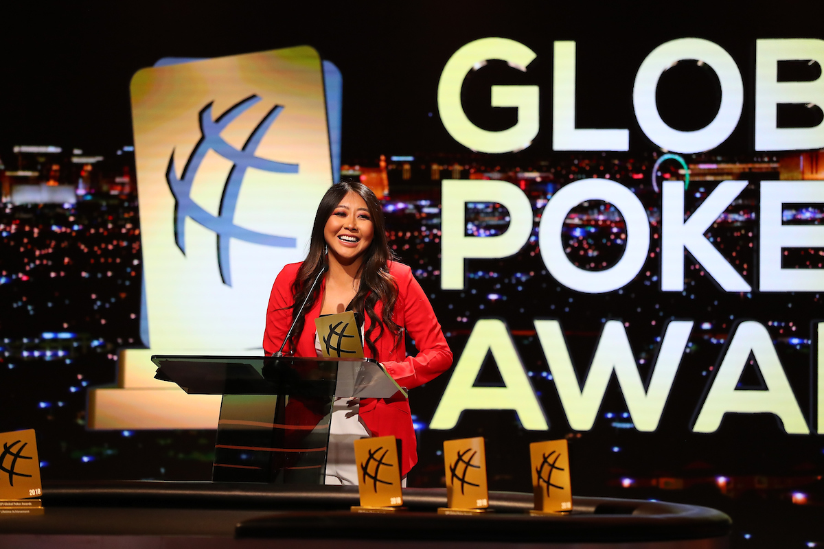 Maria Ho received the award for Broadcaster of the Year at the Global Poker Awards.