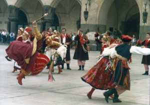 Dancers performing traditional Polish dances