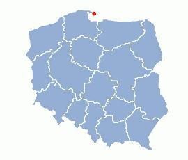 Location of Hel on the map of Poland