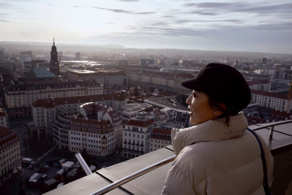 Woman looking over Dresden