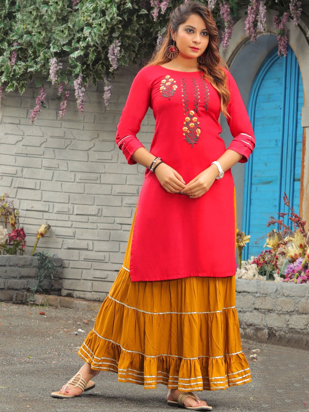 red-embroidered-kurta-with-tiered-skirt