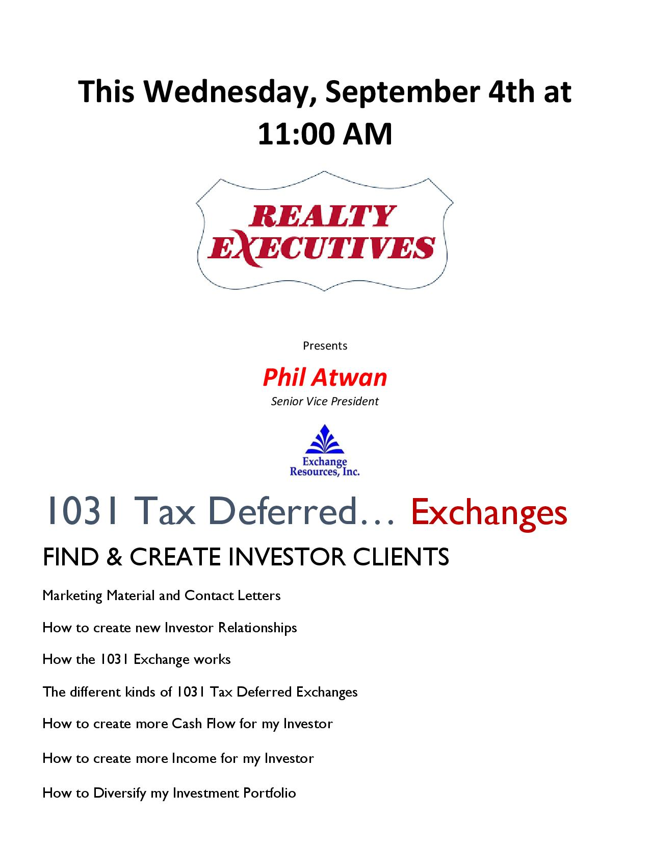 Come learn about 1031 Deferred Tax Exchanges. How to create wealth