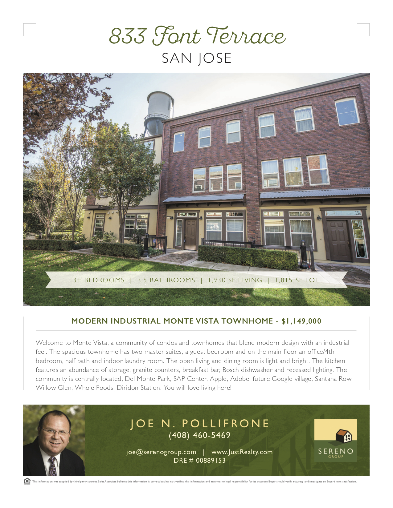 Open House at 833 Front Terrace this Sunday from 1pm - 4pm