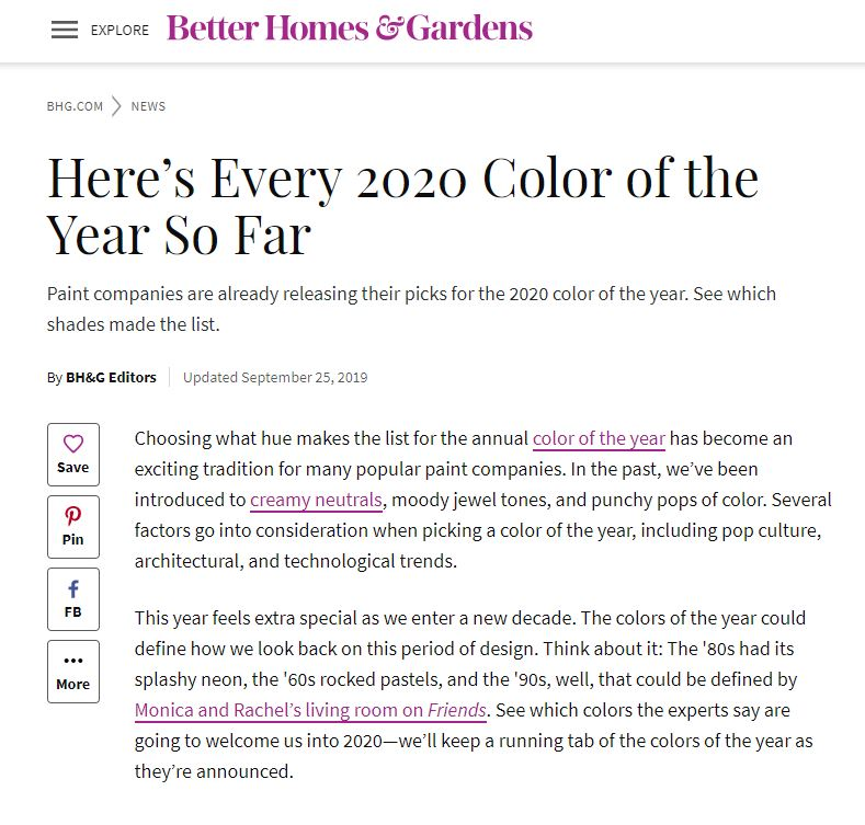 Better Homes and Gardens share the Top Colors of 2020 This Year