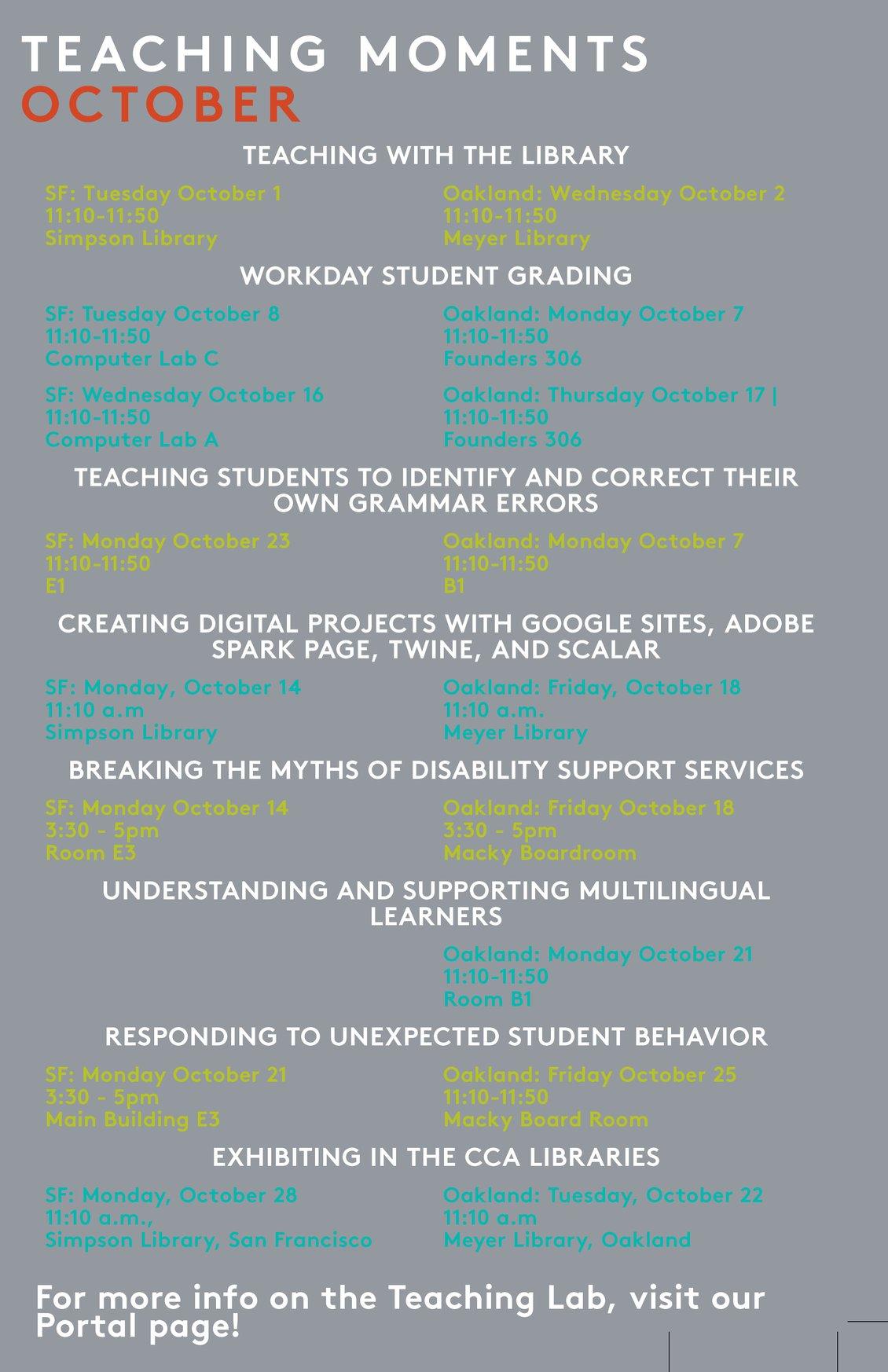 Teaching Lab: October
