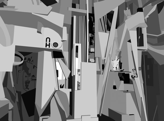 A black and white graphic illustration of Kurt Schwitters' Merzbau, a room-sized, sculptural installation exhibited in 1933