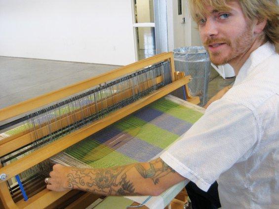Student working in the Textiles studio, Oakland campus. [photo: Gareth Spor]