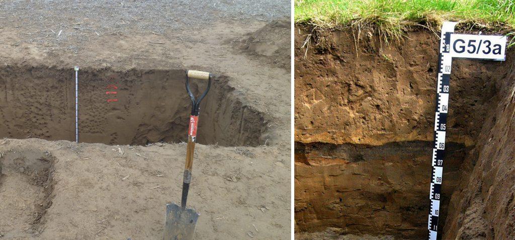 Calicatas, toma de muestras, y descripción de suelos