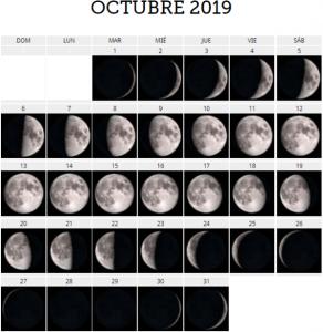 octubre 2019 luna
