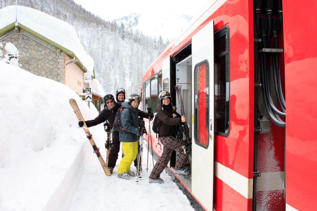 Skiers boarding the ski train