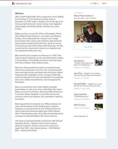 An example obituary written for Robert Frank Conkey Jr. on Wonderful Life