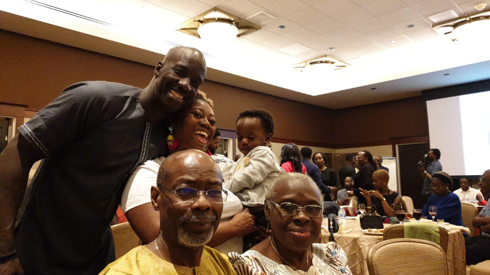 Segun, Temitope & Arenike Sokenu with Uncle Rodney and Mama Kayode. All smiles at Niniola & Seni's pre-wedding party