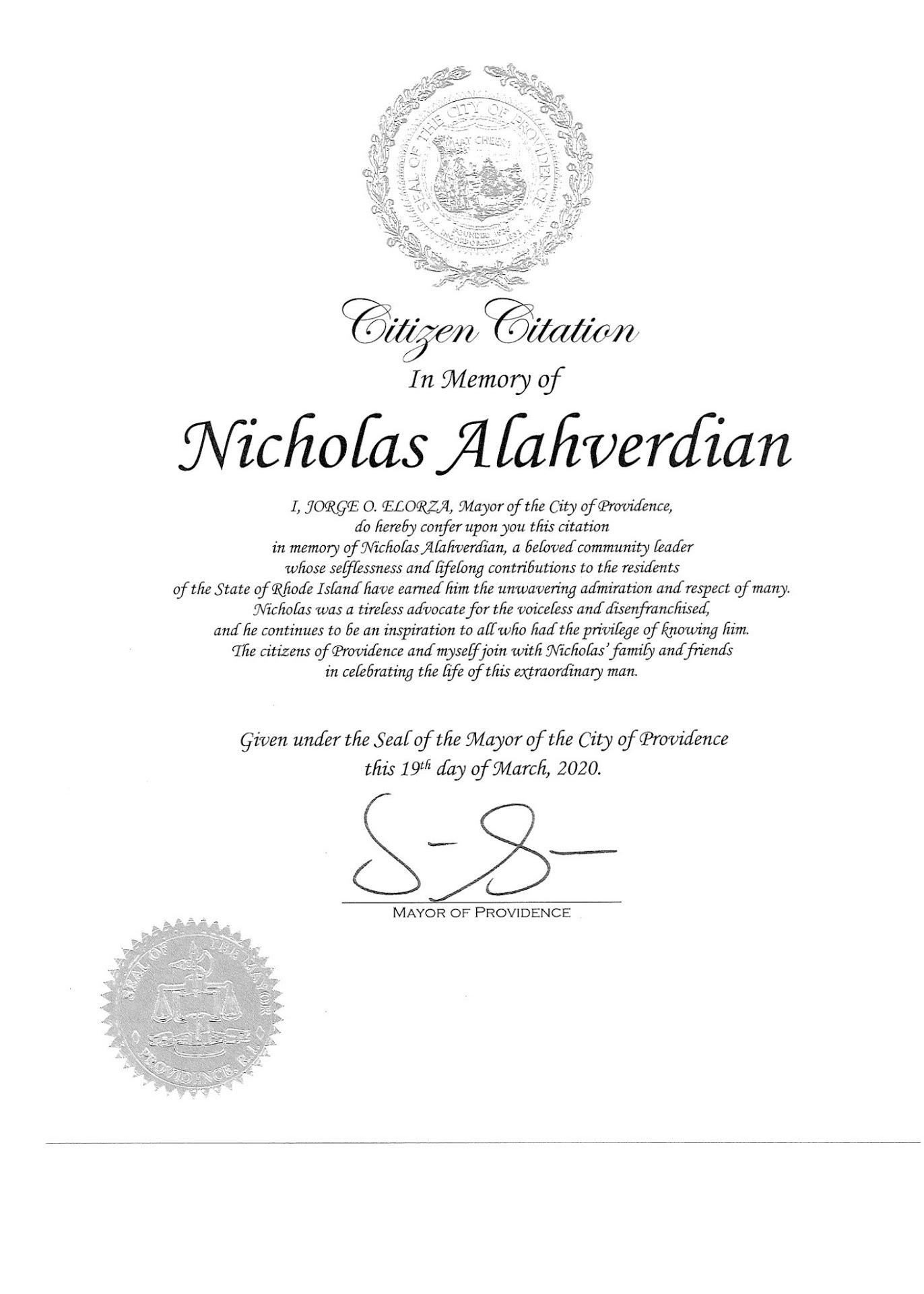Proclamation in Honor of Nicholas Alahverdian issued by Providence Mayor Jorge O. Elorza