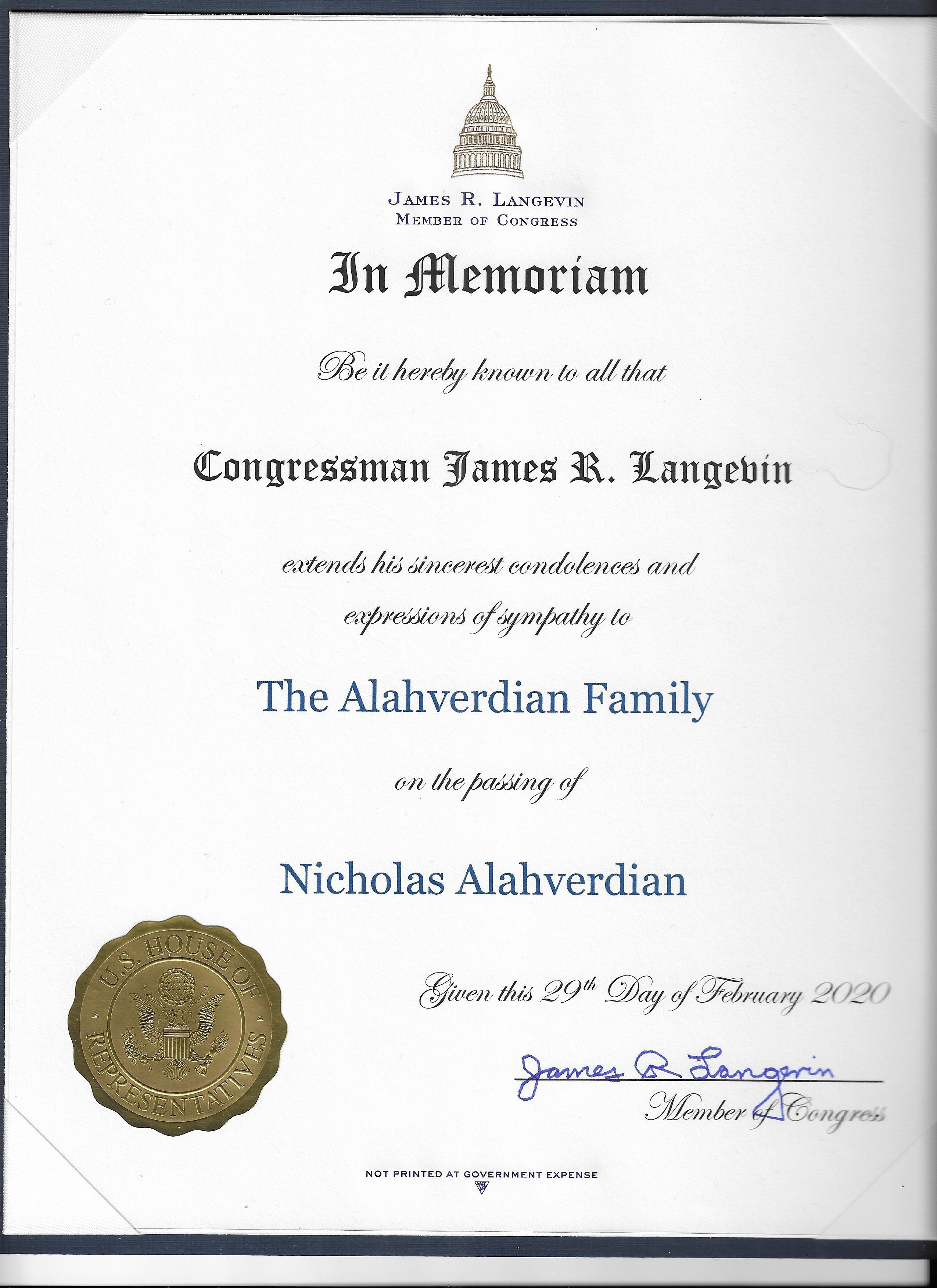 United States Congressman James Langevin issues proclamation in honor of the memory of Nicholas Alahverdian