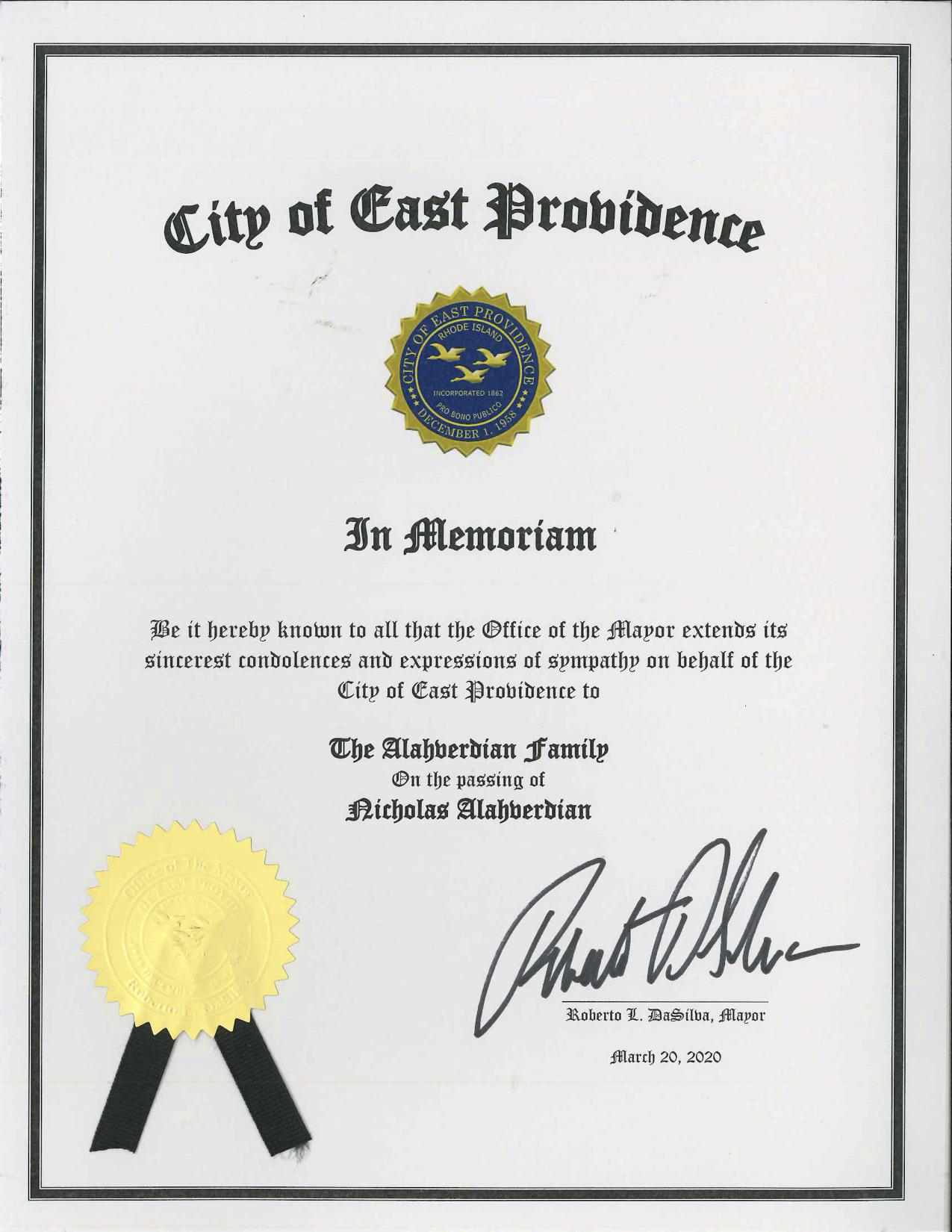 Proclamation in Memoriam of Nicholas Alahverdian issued by East Providence Mayor Bob DaSilva