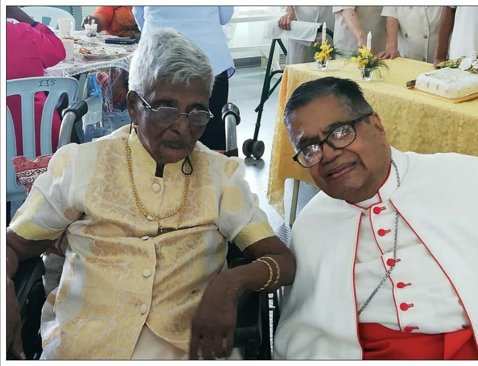 Cardinal Soter and my mum Margaret Andrew , having a chat. Photo taken during Sr Anne Marie  Lopez 60th Jubilee in Cheras