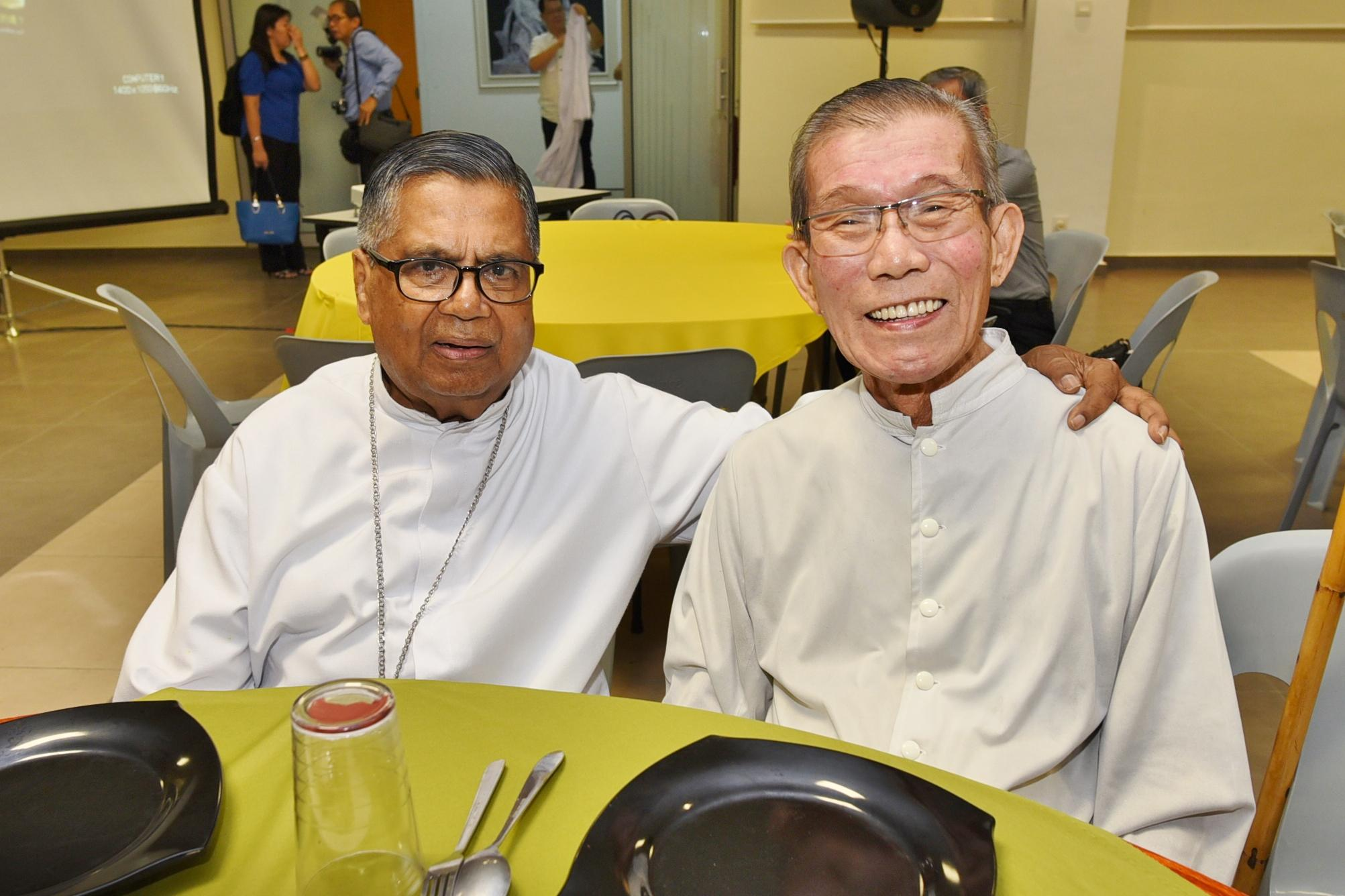 The Two Great Friend~ On 4th Jan 2017, His Eminence Anthony Soter Cardinal Fernandez with Fr Francis Ng, CDD (RIP 5th Aug 2018) at the celebration of 90th Anniversary of CDD ( Congregation of The Disciples of The Lord ) at St Ignatius Church, Petaling Jaya. Both of them was sitting together, and having good time together,  now they are joining together in the eternal home.  Rest in Peace.