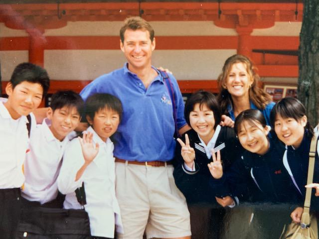"Gina wrote on the back of photo: ""Mike & Gina with students at Japanese Shinto Shrine in Kyoto"""