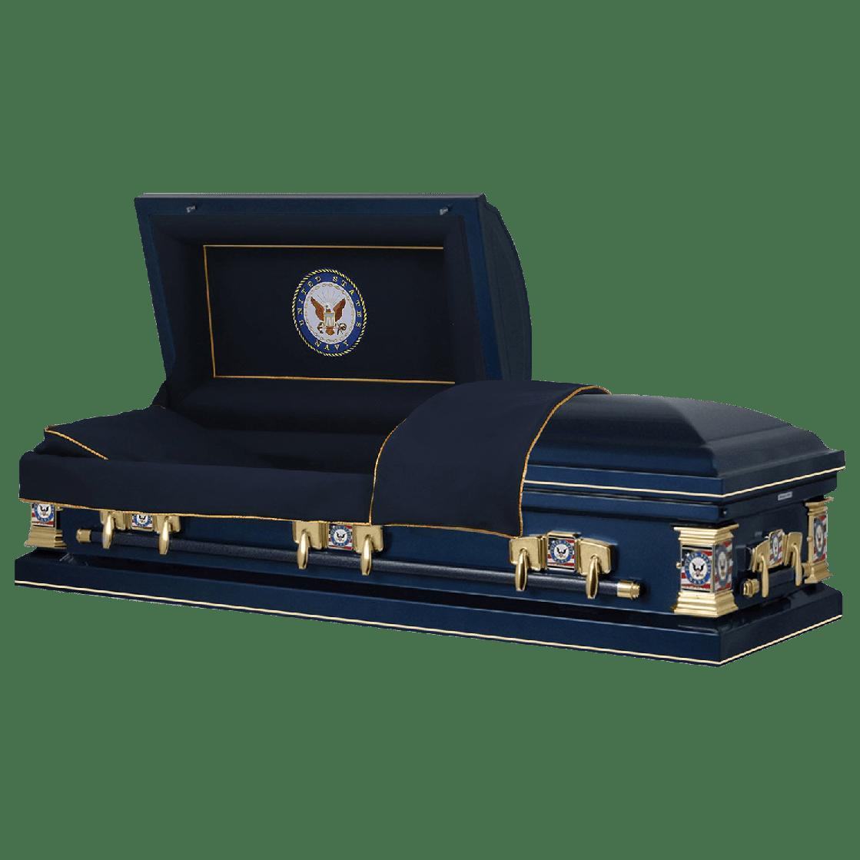 Photo of Titan Veteran Select | NAVY | Dark Blue Steel Casket with Dark Blue Interior