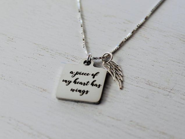 Photo of A piece of my heart has wings memorial necklace - Sympathy Gift - Memorial Gift - Loss of Mother - Loss of Child