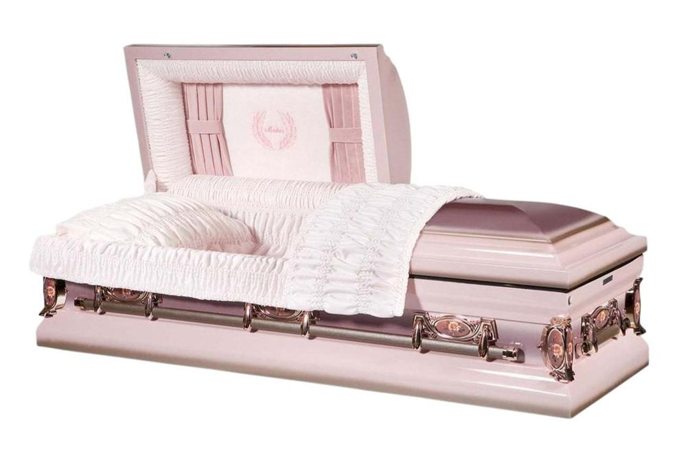 Photo of Mother - Metal Casket in Pink with Bronze and Lilac