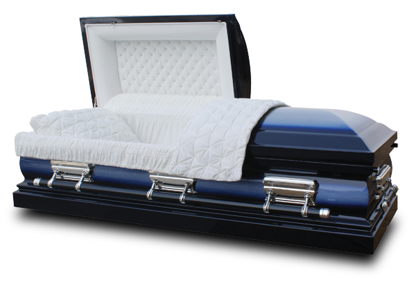 Photo of Lincoln Spruce Blue Casket with White Velvet Interior- Metal Casket