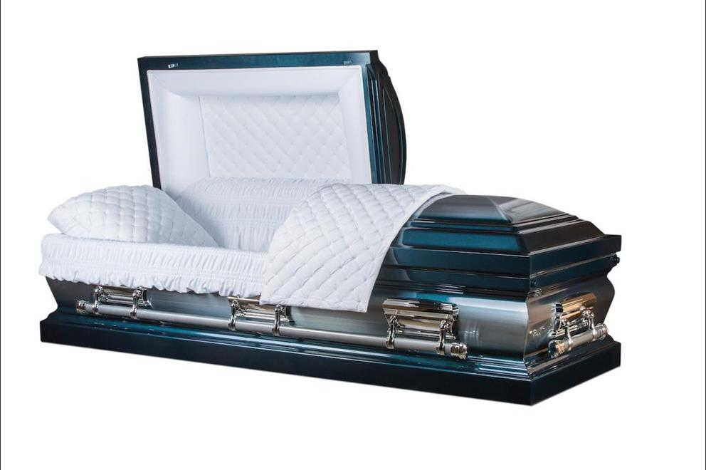 Photo of Apollo - Metal Casket in Blue with Silver and White Velvet Interior