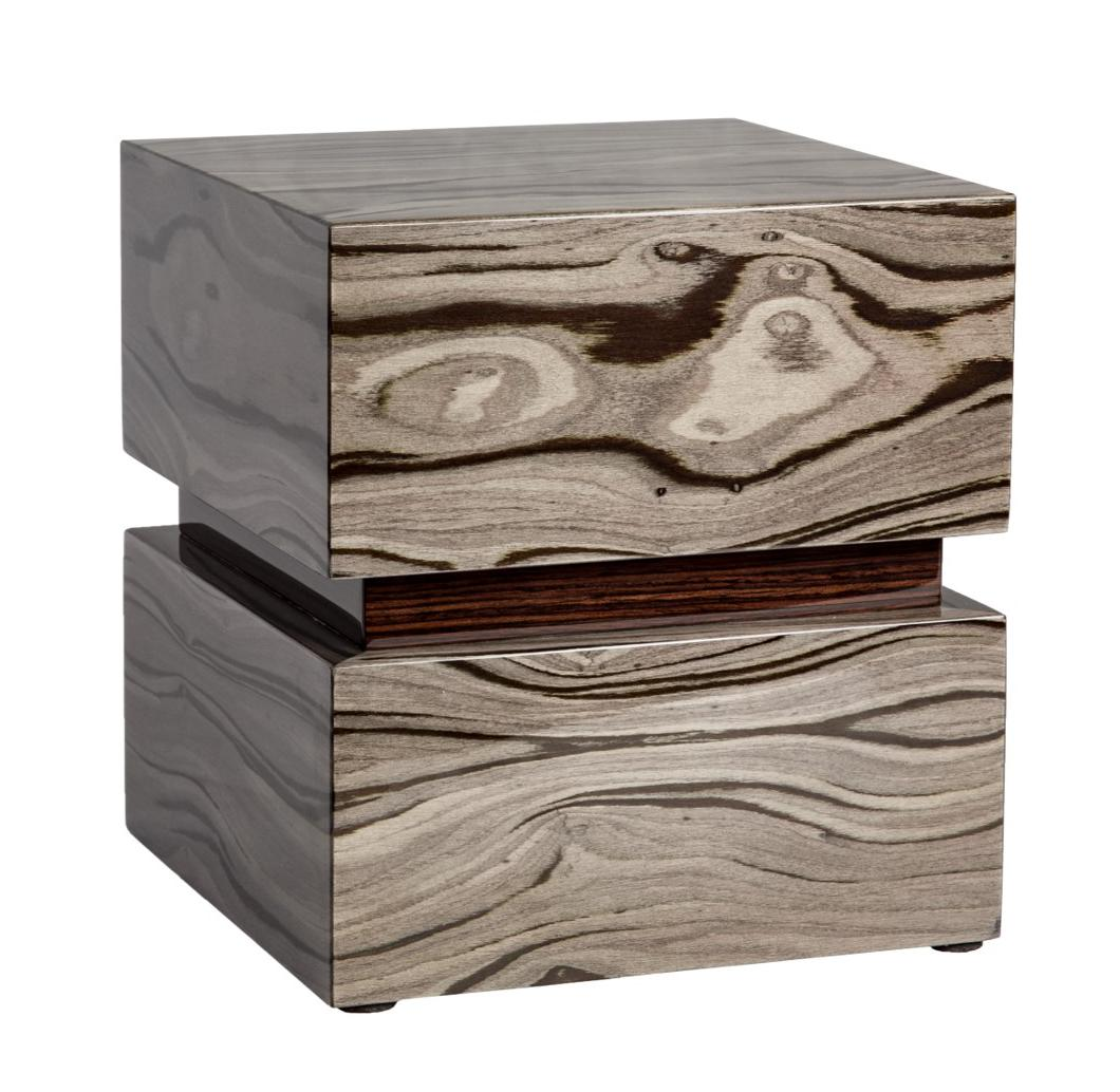 Photo of Modern Wood Urn; Large Urn for Ashes; Grey Lacquered Wood Urn; 220 Cubic Inches