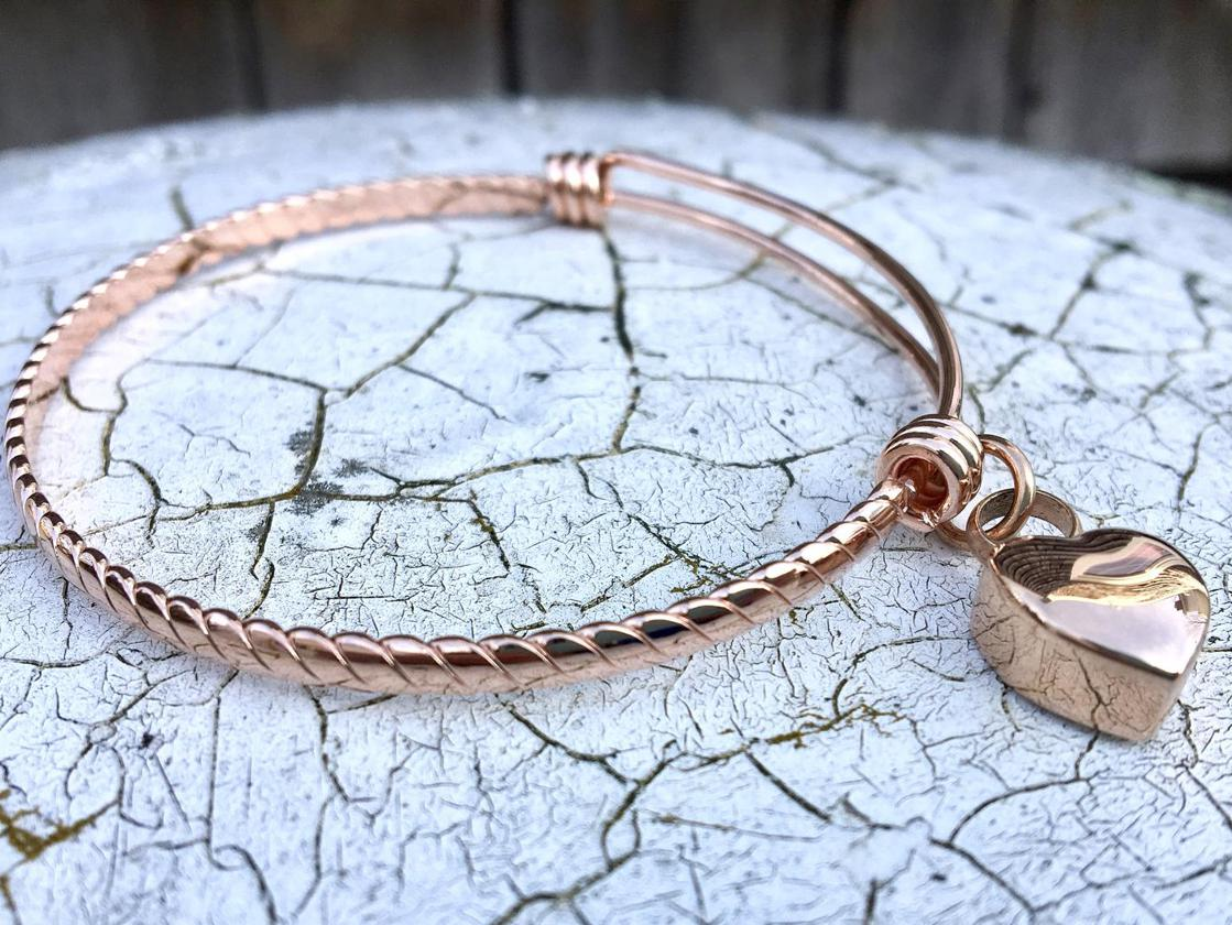Photo of Cremation Urn Memorial Bangle in Rose Gold