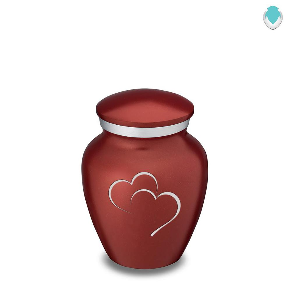 Photo of Keepsake Brick Red Embrace Hearts Cremation Urn