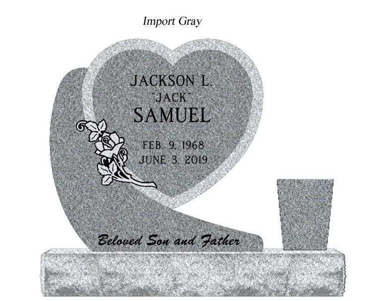 Photo of Rustic Hanging Heart Granite Monument