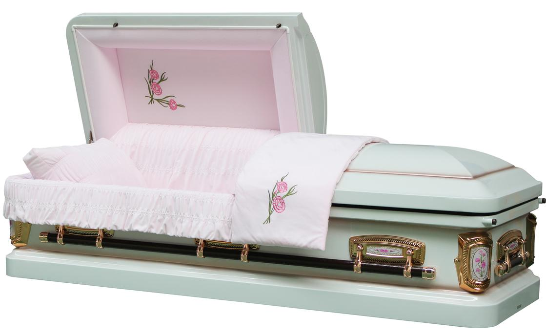 Photo of PrimRose White And Pink Casket with Pink Velvet Interior - Metal Casket