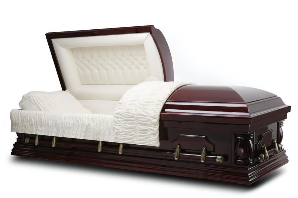 Photo of Elite - Cherry wood casket with Ivory Velvet Interior